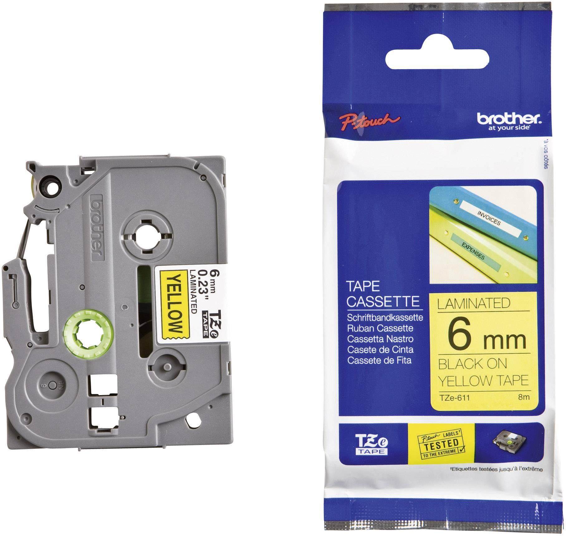 Páska do štítkovače Brother TZ-611, 6 mm, TZe, TZ, 8 m, černá/žlutá