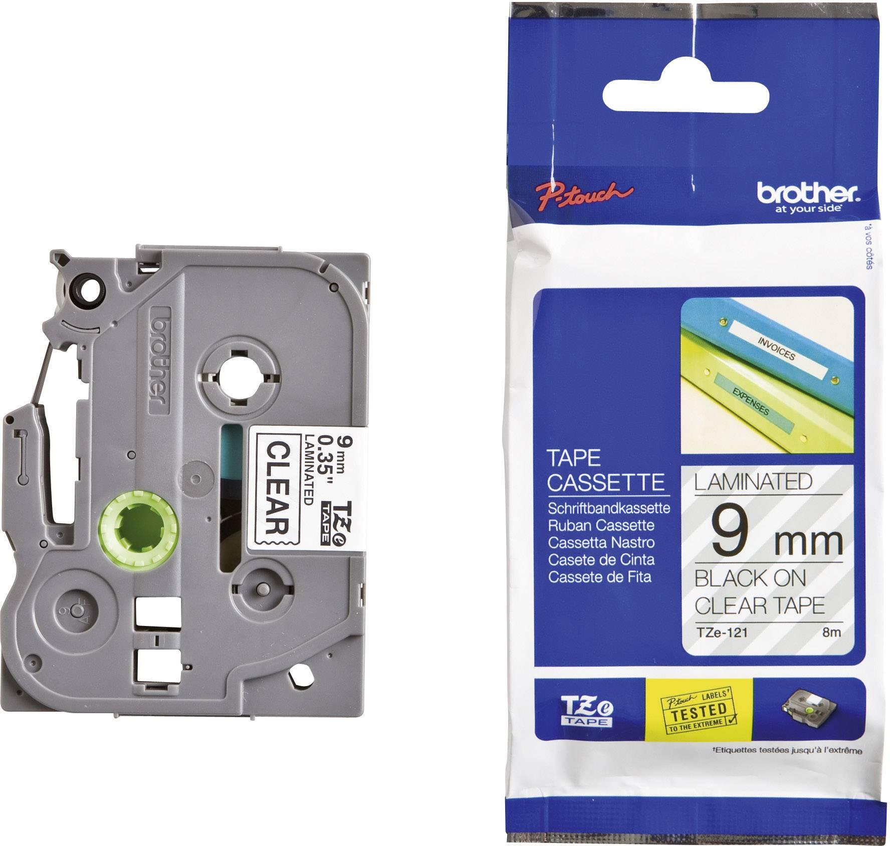 Páska do štítkovača Brother TZe-121, 9 mm, 8 m, čierna, priehľadná