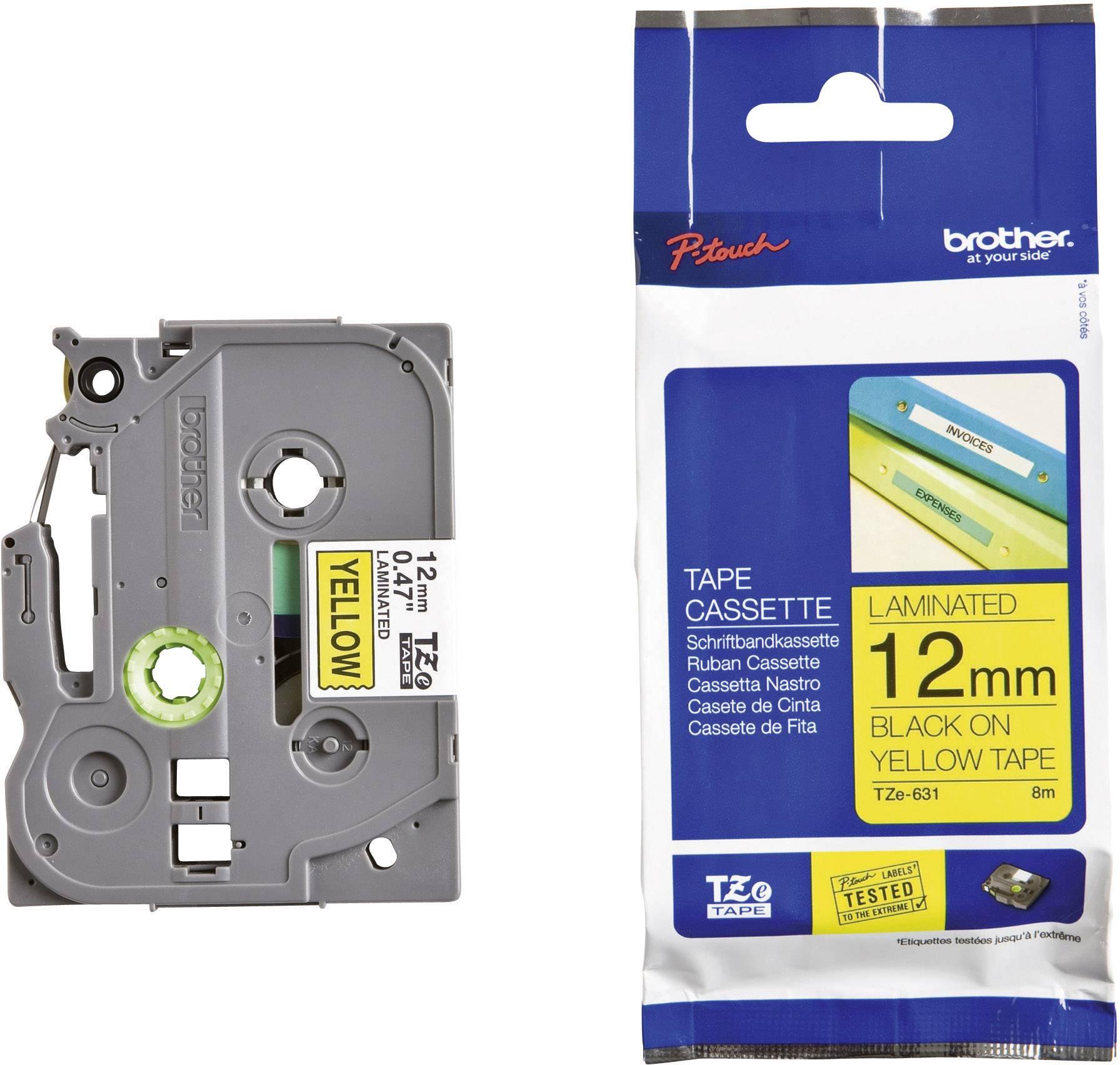 Páska do štítkovače Brother TZ-631, 12 mm, TZe, TZ, 8 m, černá/žlutá