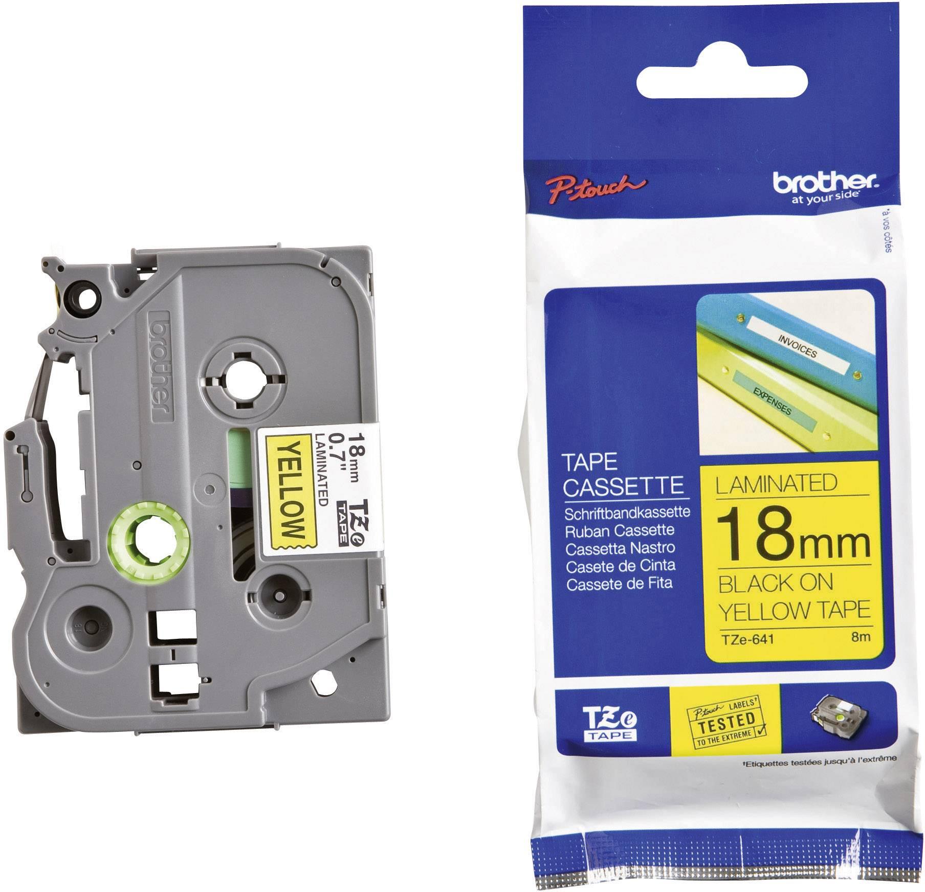 Páska do štítkovače Brother TZ-641, 18 mm, TZe, TZ, 8 m, černá/žlutá