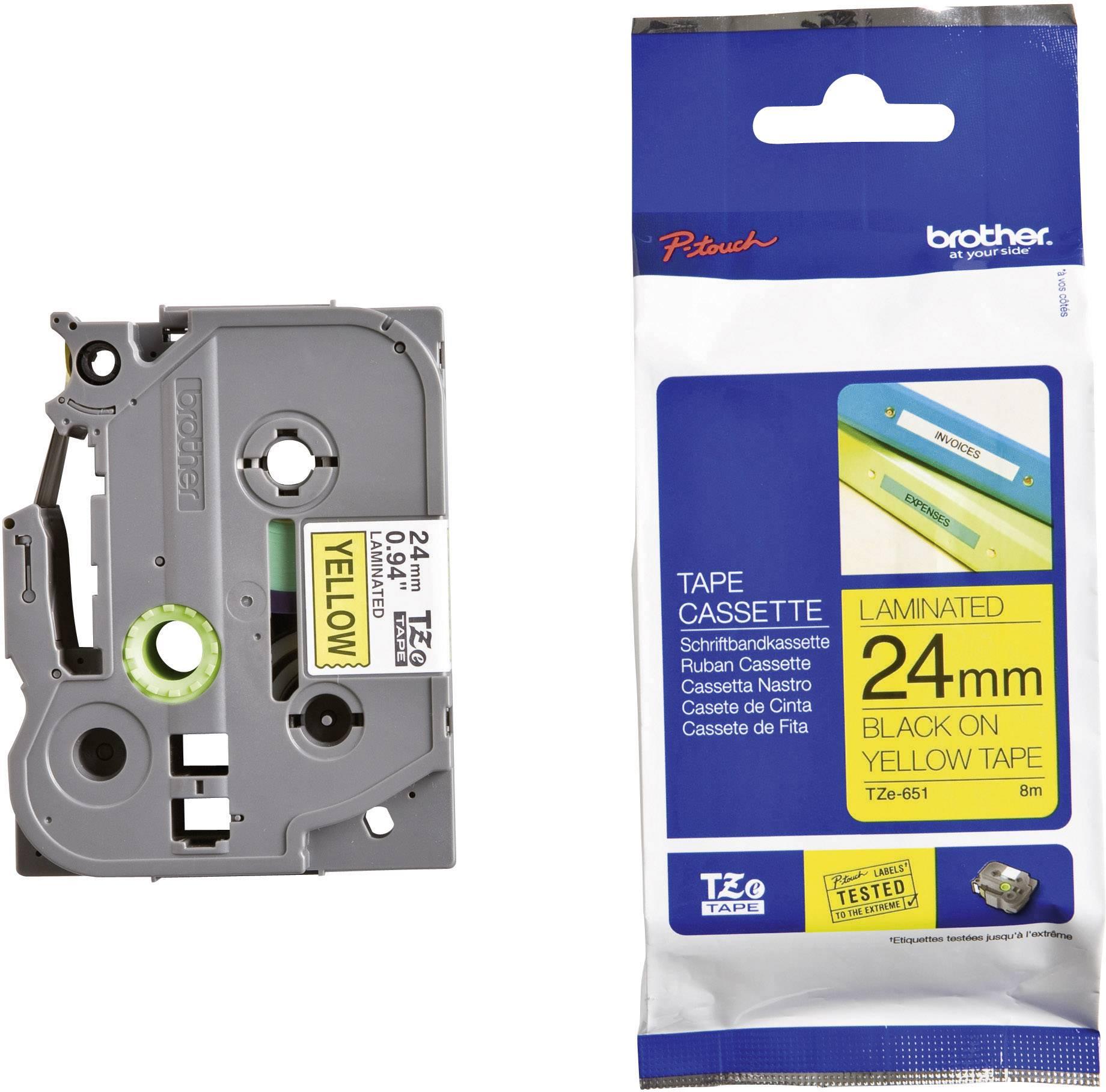 Páska do štítkovače Brother TZ-651, 24 mm, TZe, TZ, 8 m, černá/žlutá