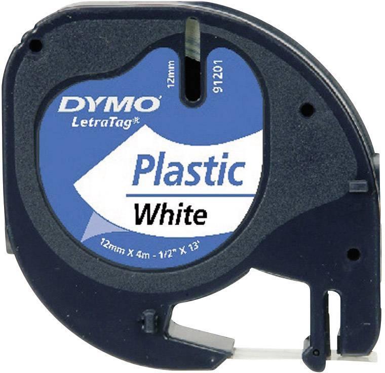 Páska do štítkovače DYMO 91221 (S0721660), 12 mm, LT LetraTAG, 4 m, černá/perlově bílá