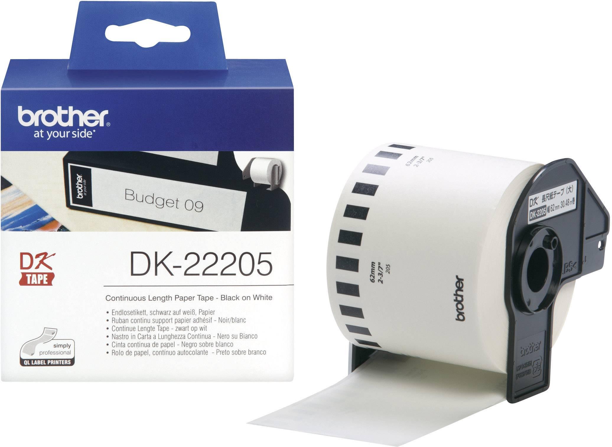 Etikety pre etiketovačky QL, BrotherTyp DK-22205, DK22205, 62mm x 30,48mm, biela