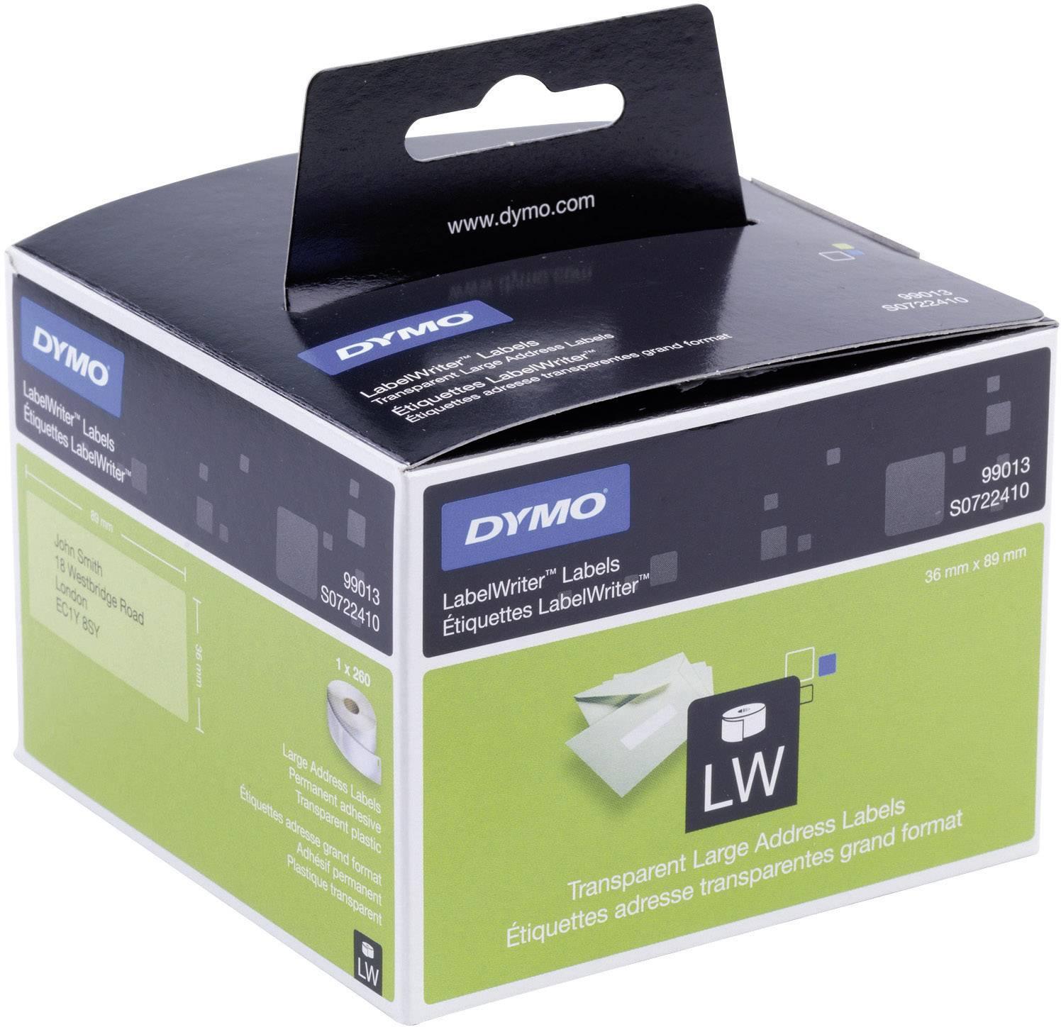 Páska do štítkovače Dymo LW, Typ 99013, S0722410, bílá/černá, 89 x 36 mm, 260 ks