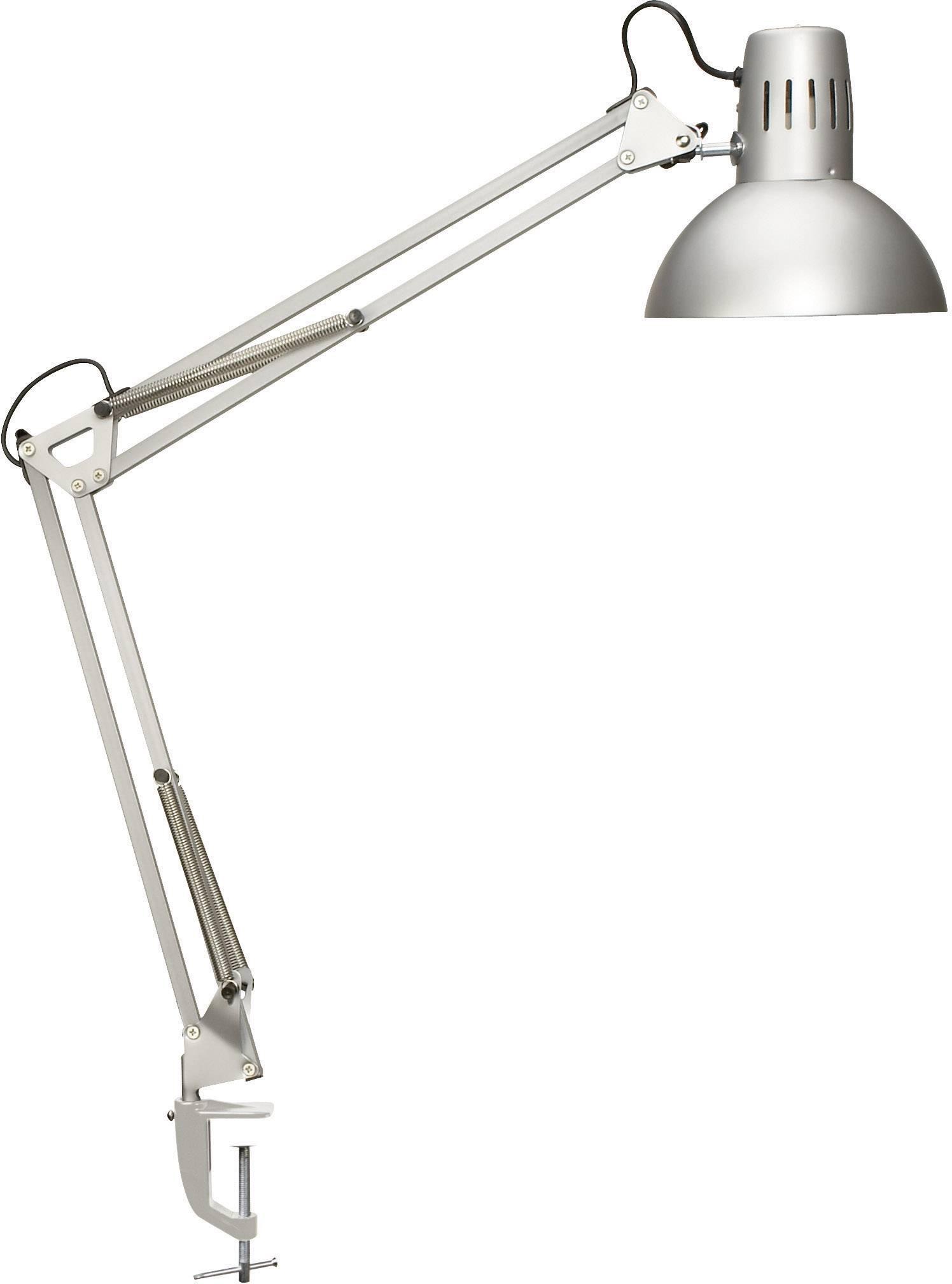 Stolní úsporná lampa Maul study s klipsem, E27, 60 W, stříbrná