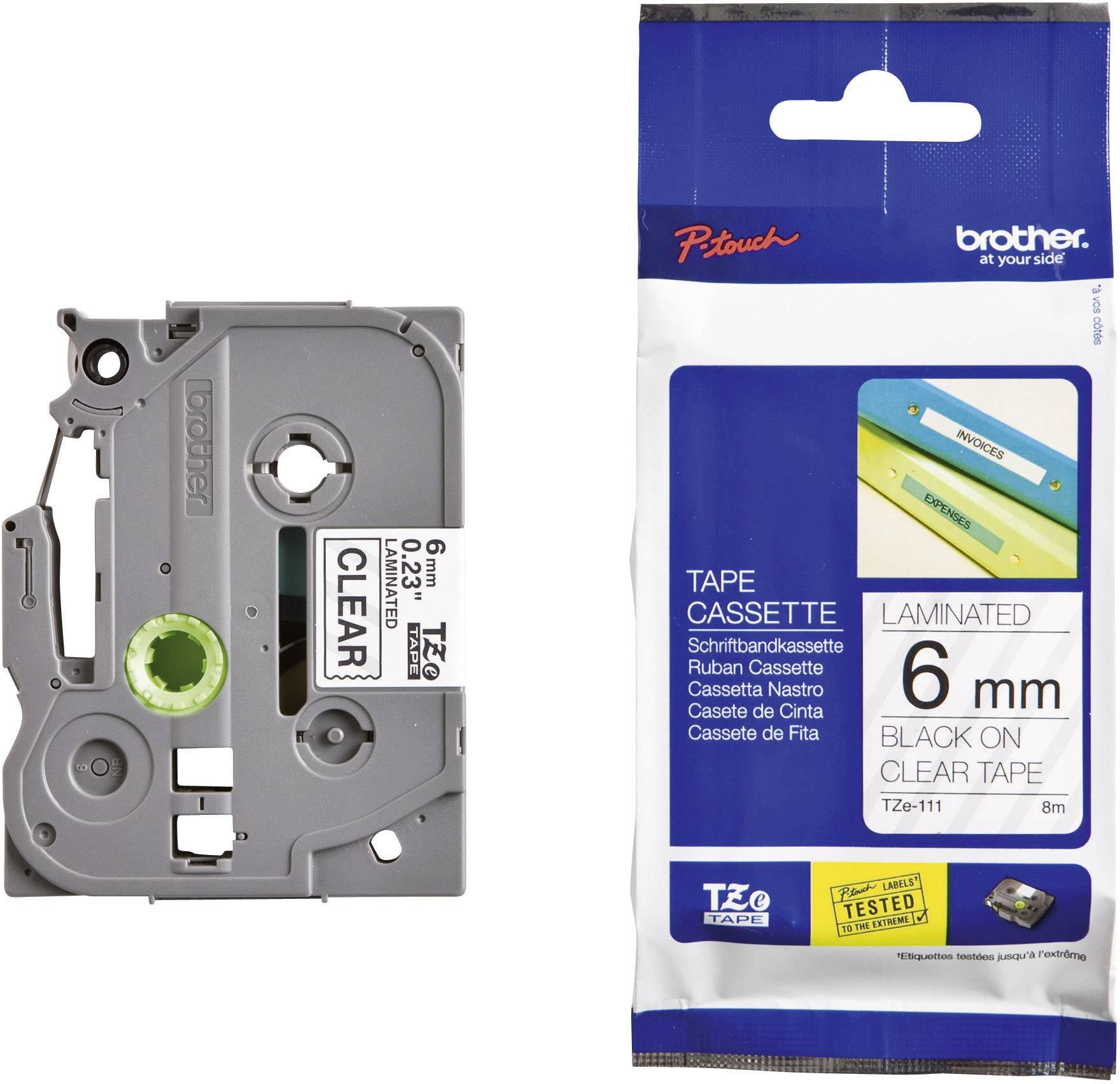 Páska do štítkovača Brother TZe-111, 6 mm, 8 m, čierna, priehľadná