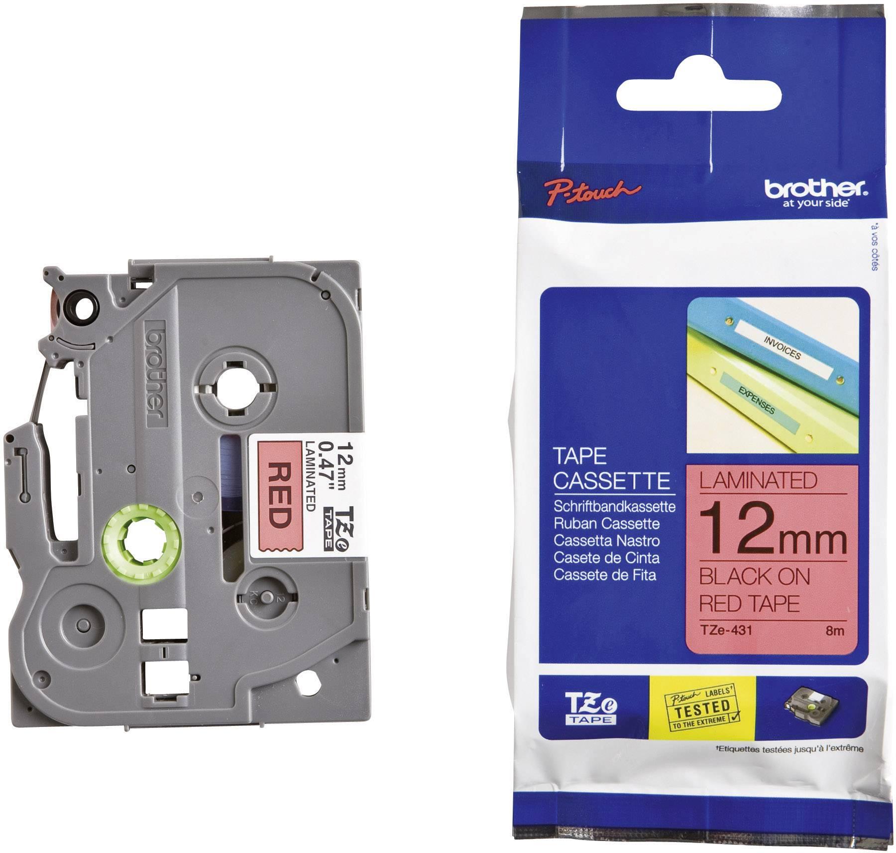 Páska do štítkovače Brother TZ-431, 12 mm, TZe, TZ, 8 m, černá/červená