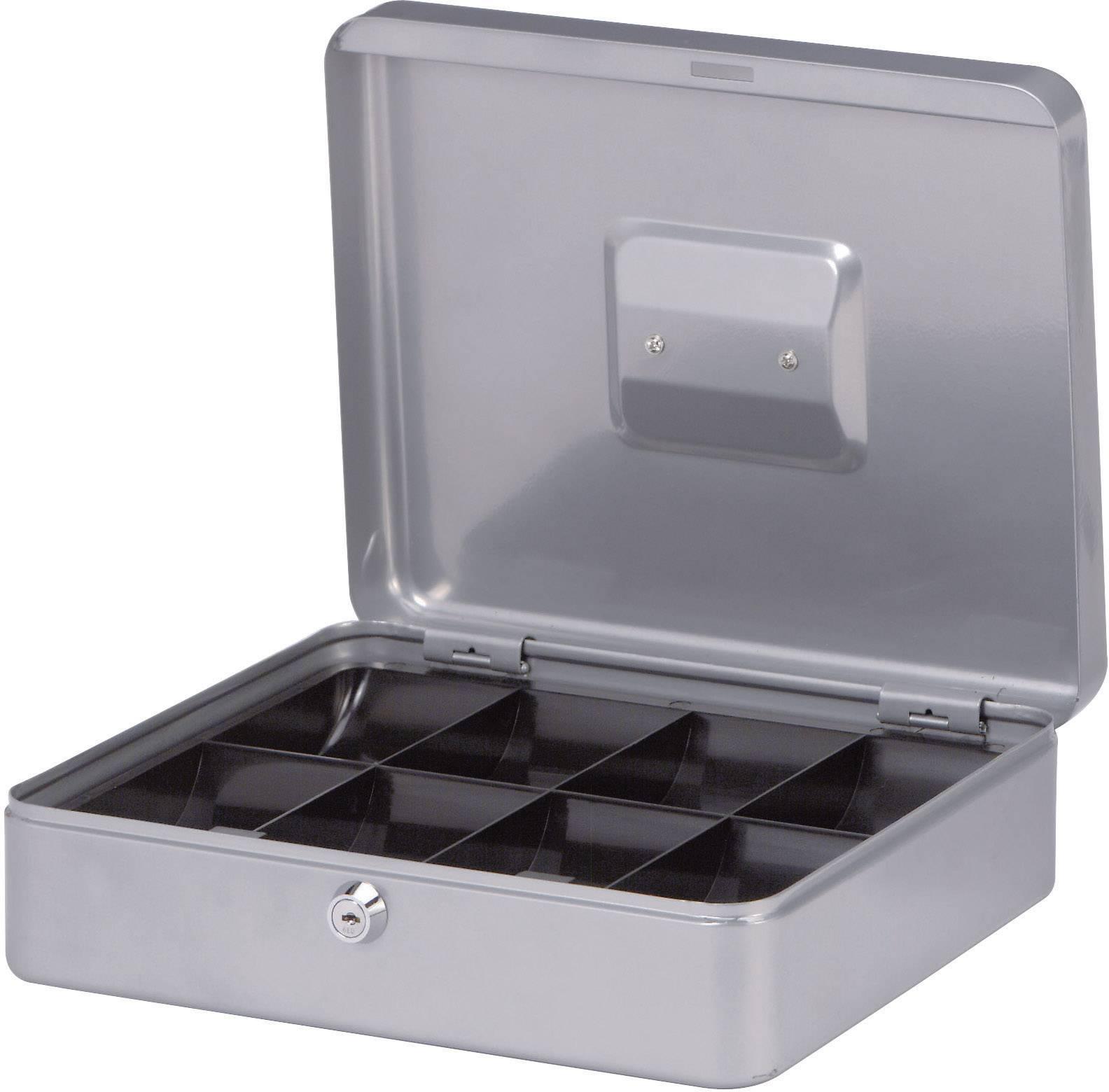 Kufřík na peníze Maul, 30 cm, stříbrná