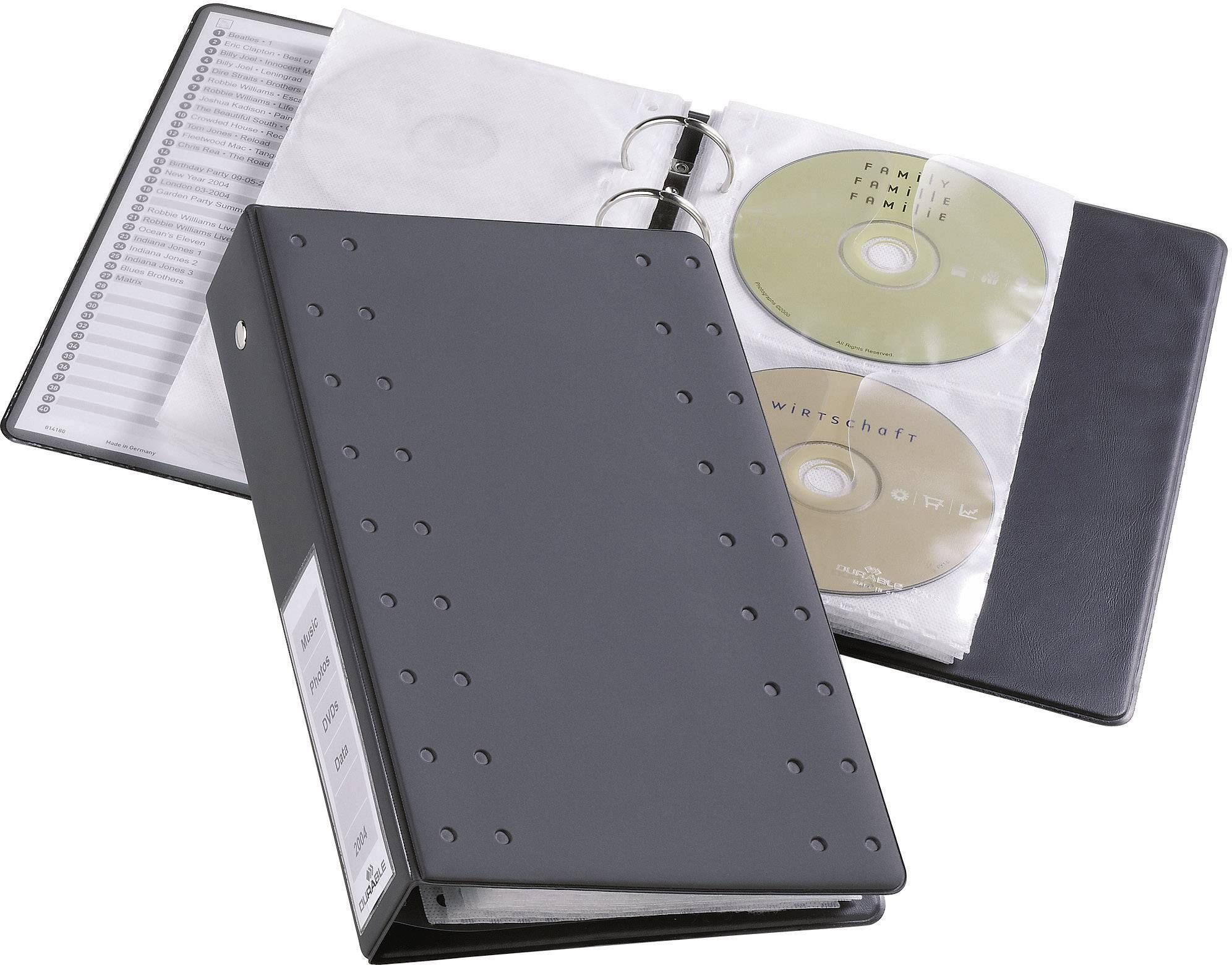 Obaly na CD/DVD Durable 5204-58 na 20 CD/DVD, antracitová