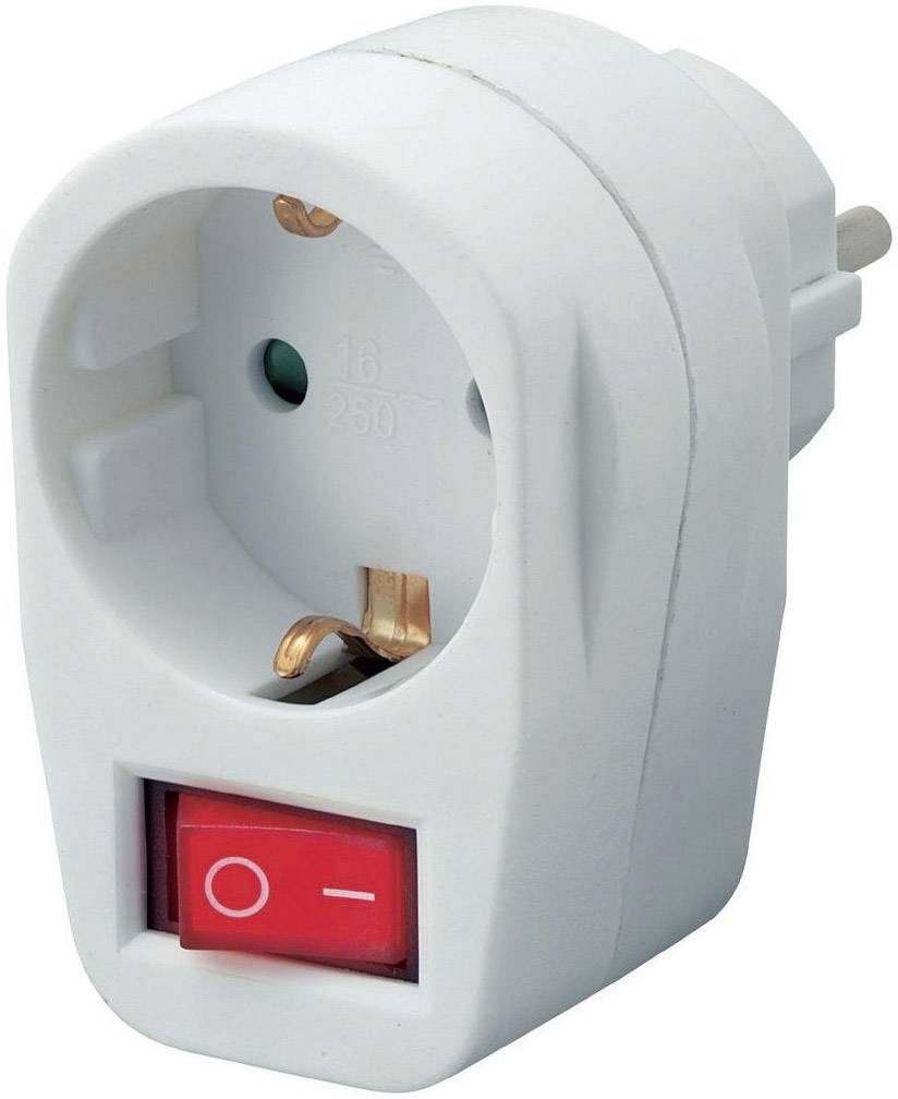 Mezizásuvka s vypínačom, 1-pólová, 3500 W, biela