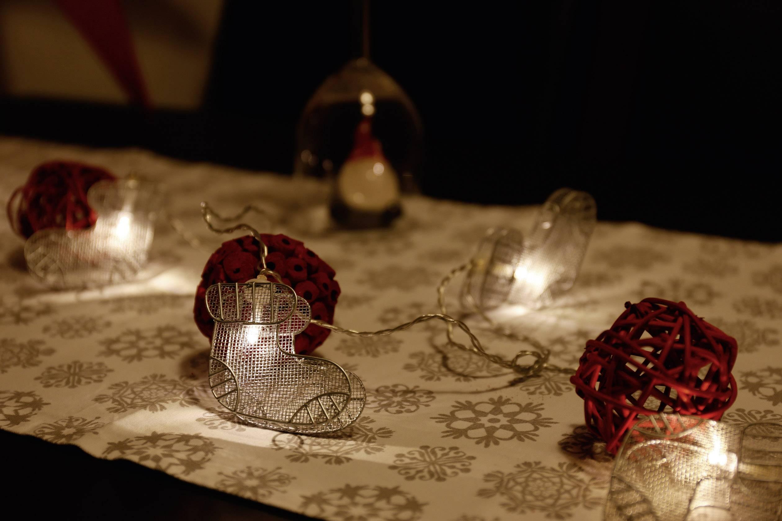 Vianočná reťaz Polarlite s motívom ponožiek, 10 LED