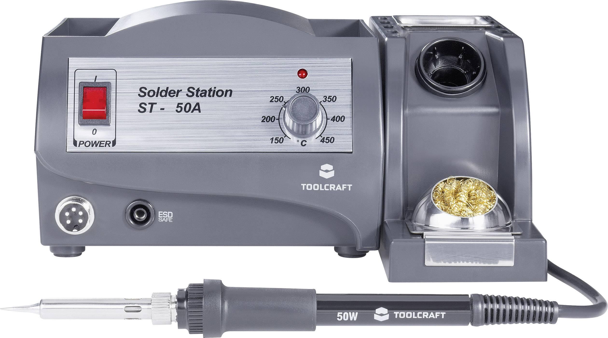 Pájecí stanice TOOLCRAFT ST-50A 791784, analogový, 50 W, +150 až +450 °C
