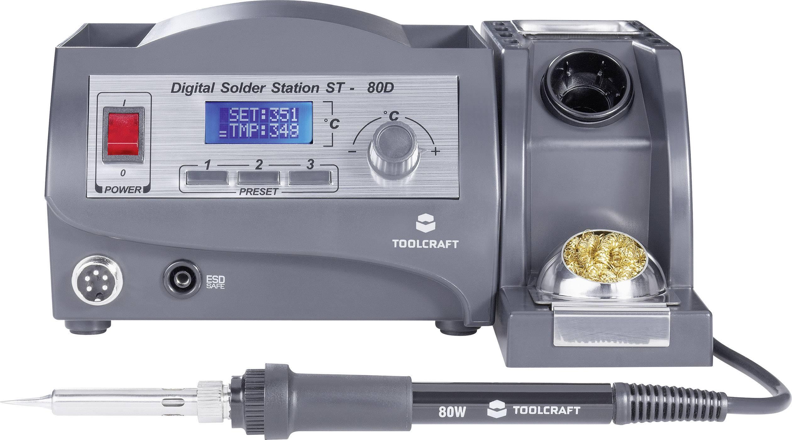 Pájecí stanice TOOLCRAFT ST-80D 791788, digitální, 80 W, +150 až +450 °C