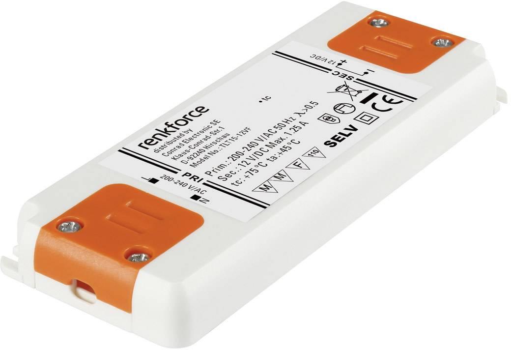 Napájací zdroj pre LED Renkforce 15 W (max), 1.25 A, 12 V/DC