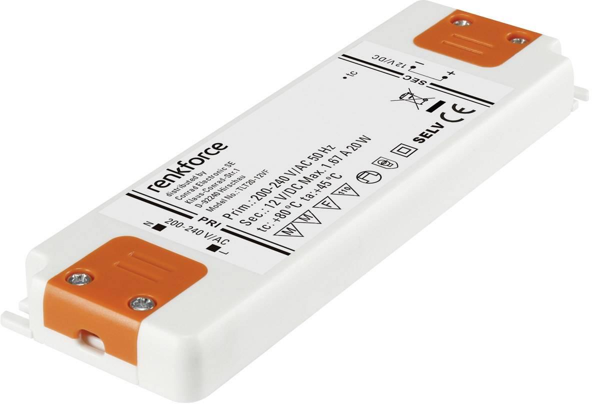 Napájací zdroj pre LED Renkforce 0.5 do 20 W, 1.67 A, 12 V/DC