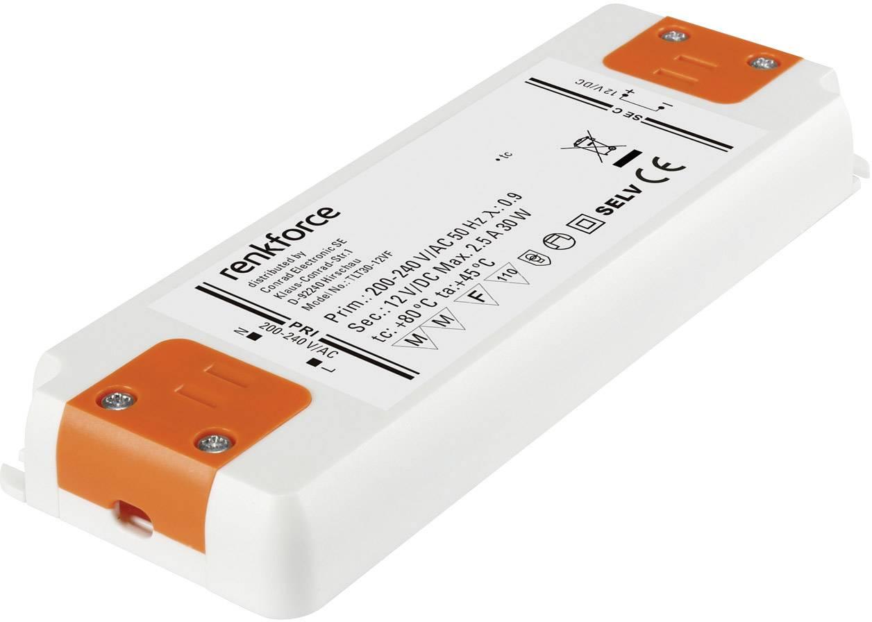 Napájací zdroj pre LED Renkforce 0.5 do 30 W, 2.5 A, 12 V/DC