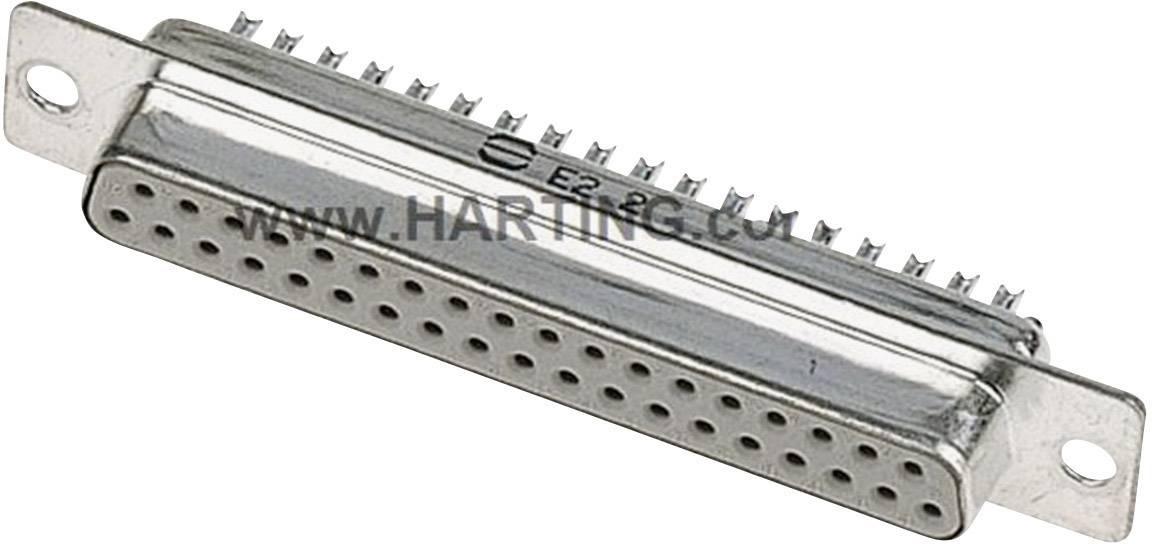D-SUB zásuvková lišta Harting 09 67 237 4715, 180 °, pólů 37, pájecí kalíšek, 1 ks