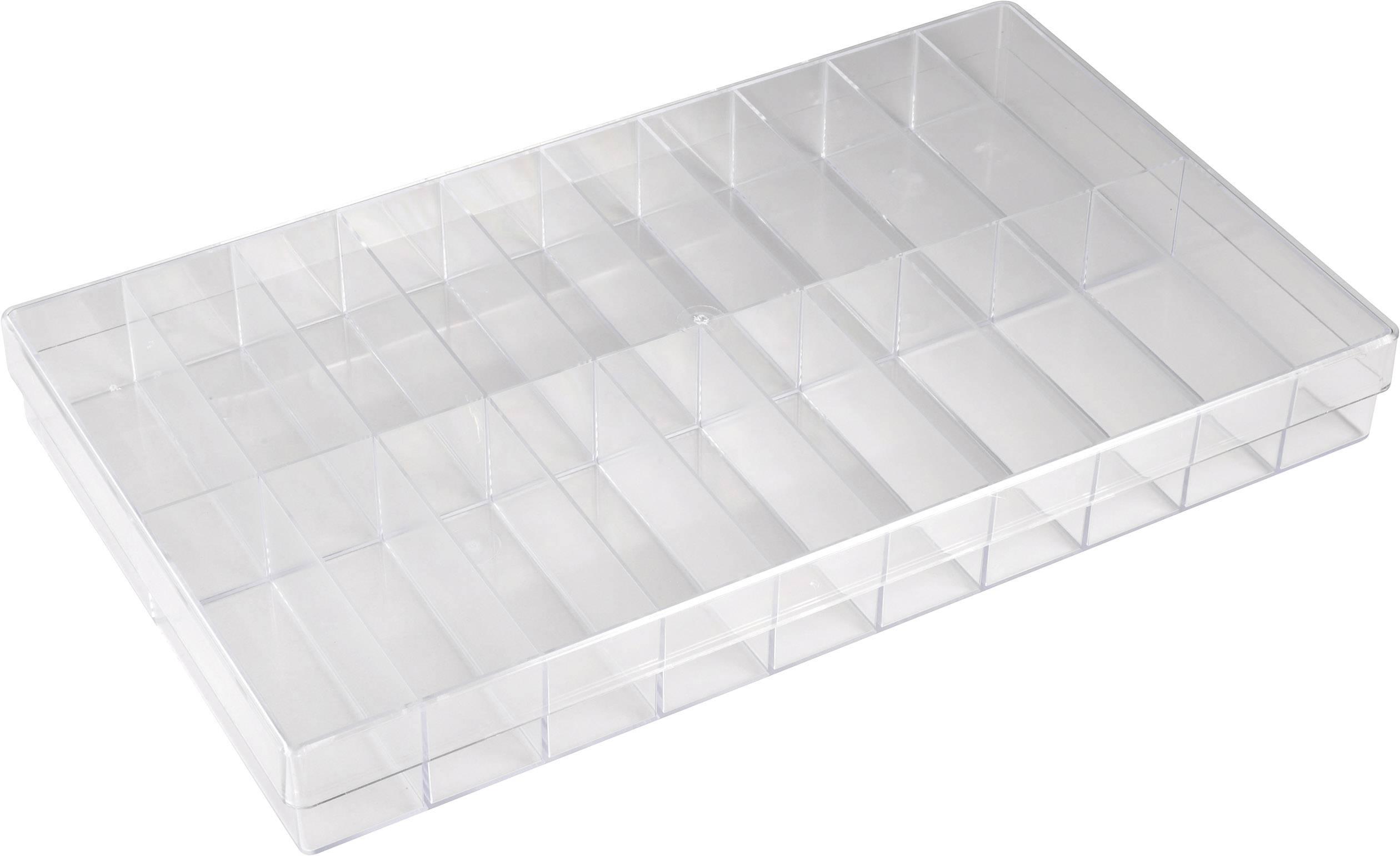 Krabička na drobné súčiastky 800286, priečinkov: 20, 355 x 210 x 40 , priehľadná