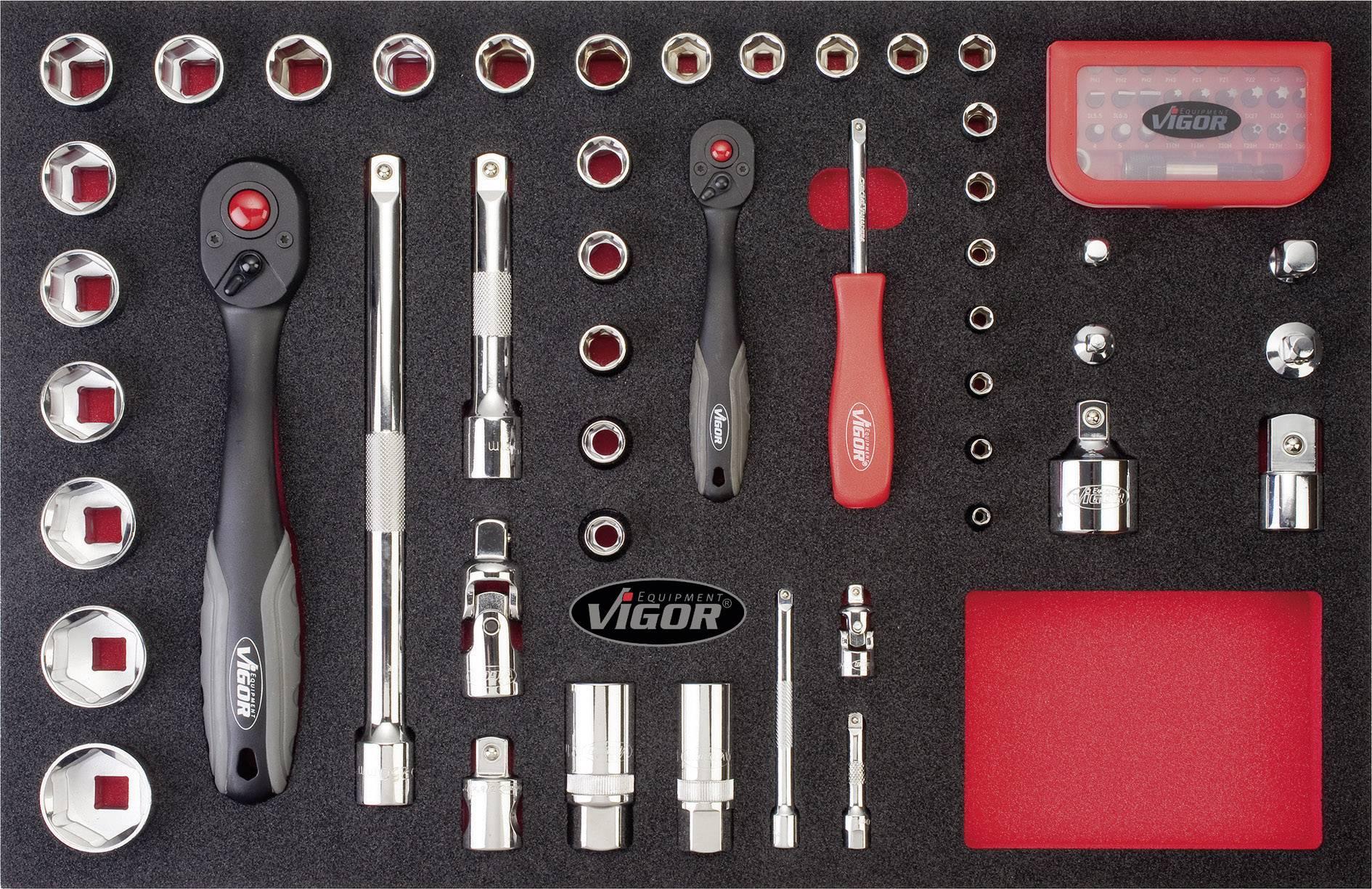 Sada nástrčných klíčů Vigor V2378, 43dílná