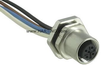 Konektor do steny/panelu s prívodom M12 Harting 21 03 311 2400, zásuvka zabud., IP65/67