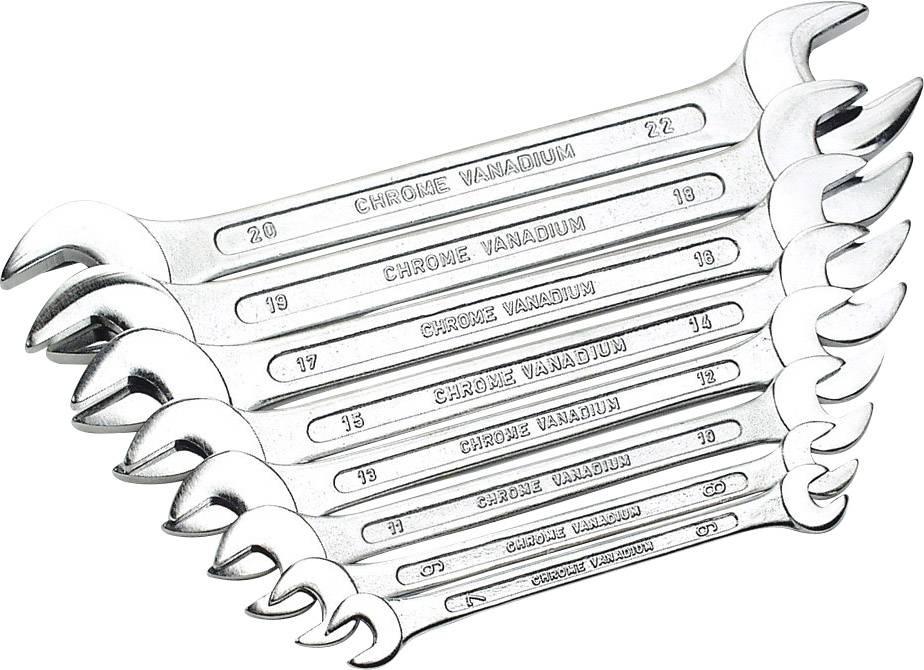 Sada oboustranných plochých klíčů Brüder Mannesmann 110-08 DIN, 6 - 22 mm, 8dílná