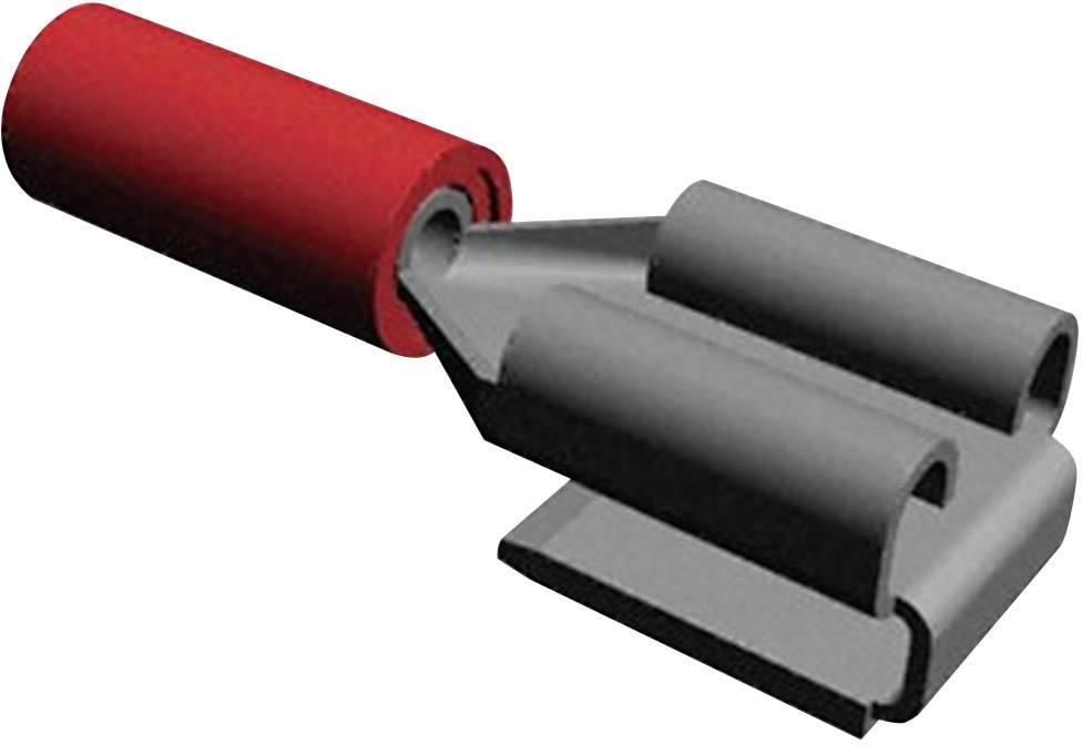 Faston zásuvka TE Connectivity 160834-5 s odbočkou, 6.3 mm x 0.8 mm, 180 °, částečná izolace, červená, 1 ks