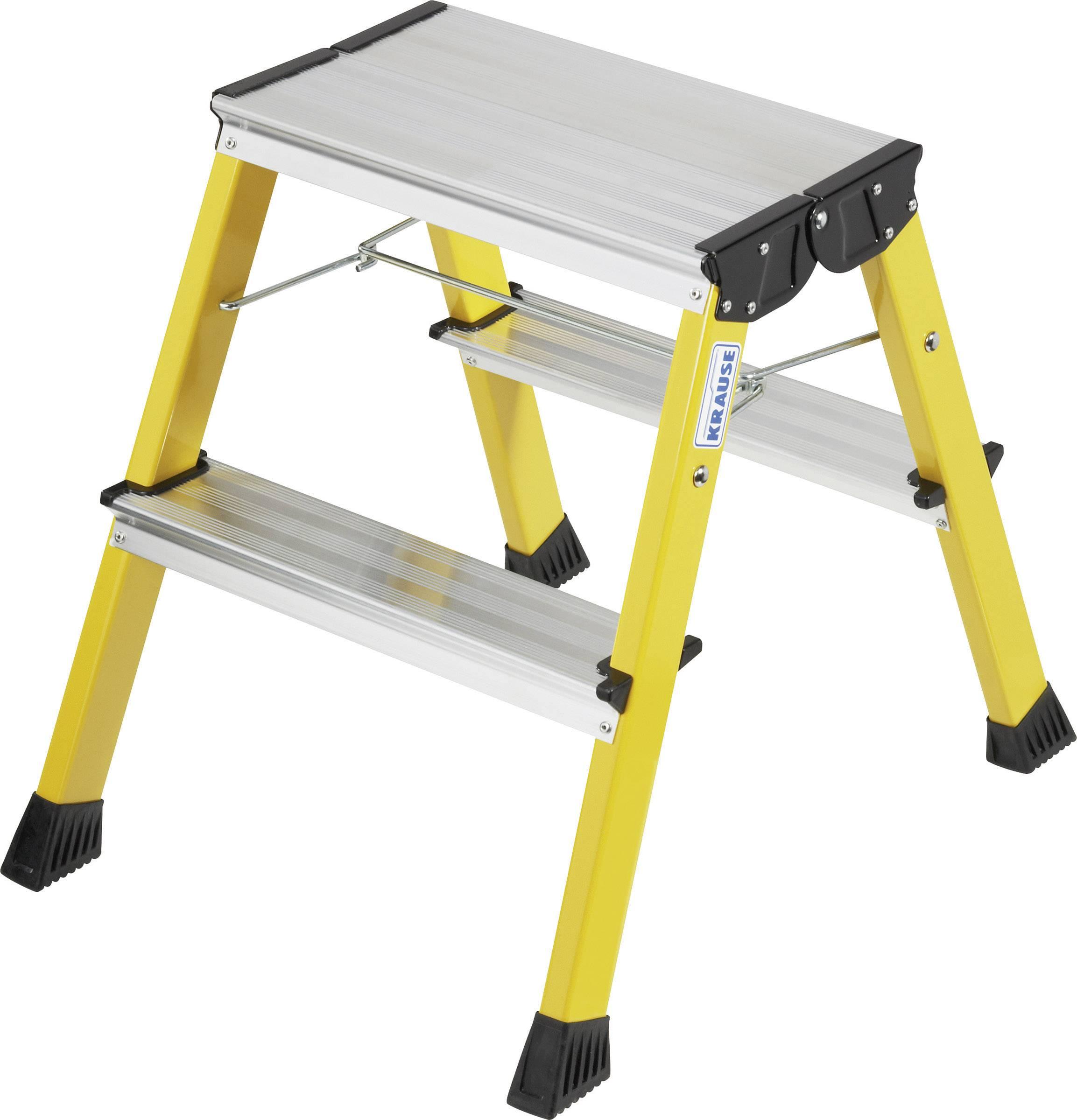 Dvojité skladacie schodíky Krause 130044, max.prac. výška: 2.45 m, 1.7 kg, hliník, žltá