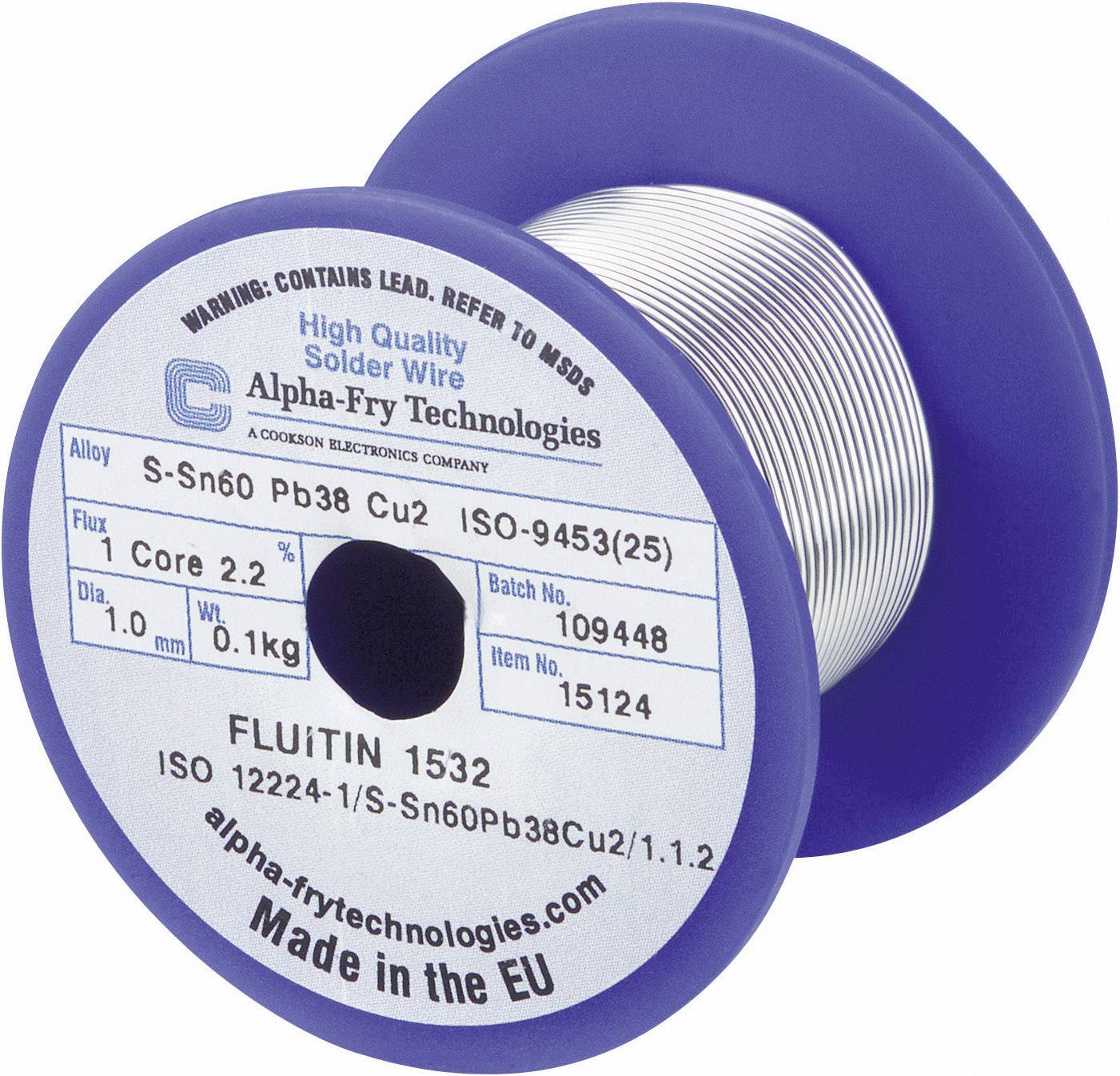 Cínová spájka Cookson Electro, L-Sn60Pb38Cu2, Ø 1 mm, 100 g