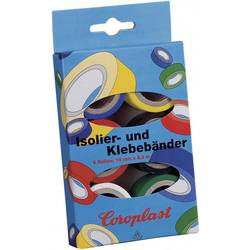 PVC tape set Coroplast 28839 28839, (d x š) 3 m x 19 mm, akryl, modrá, žltá, červená, čierna, biela, zelená, 6 ks