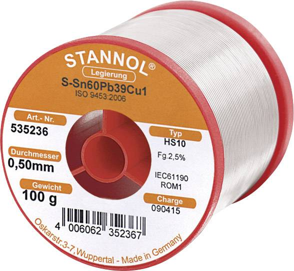 Spájkovací cín, Sn60Pb39Cu1, Ø 0,5 mm, 100 g, Stannol