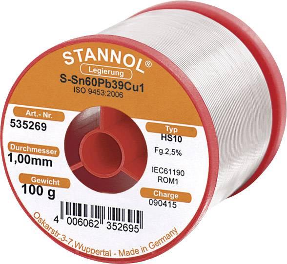 Cínová pájka, Sn60Pb39Cu1, Ø 1 mm, 100 g, Stannol