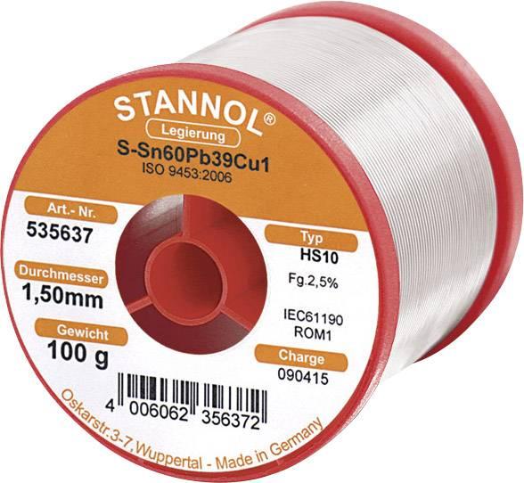 Cínová spájka, Sn60Pb39Cu1, Ø 1,5 mm, 100 g, Stannol