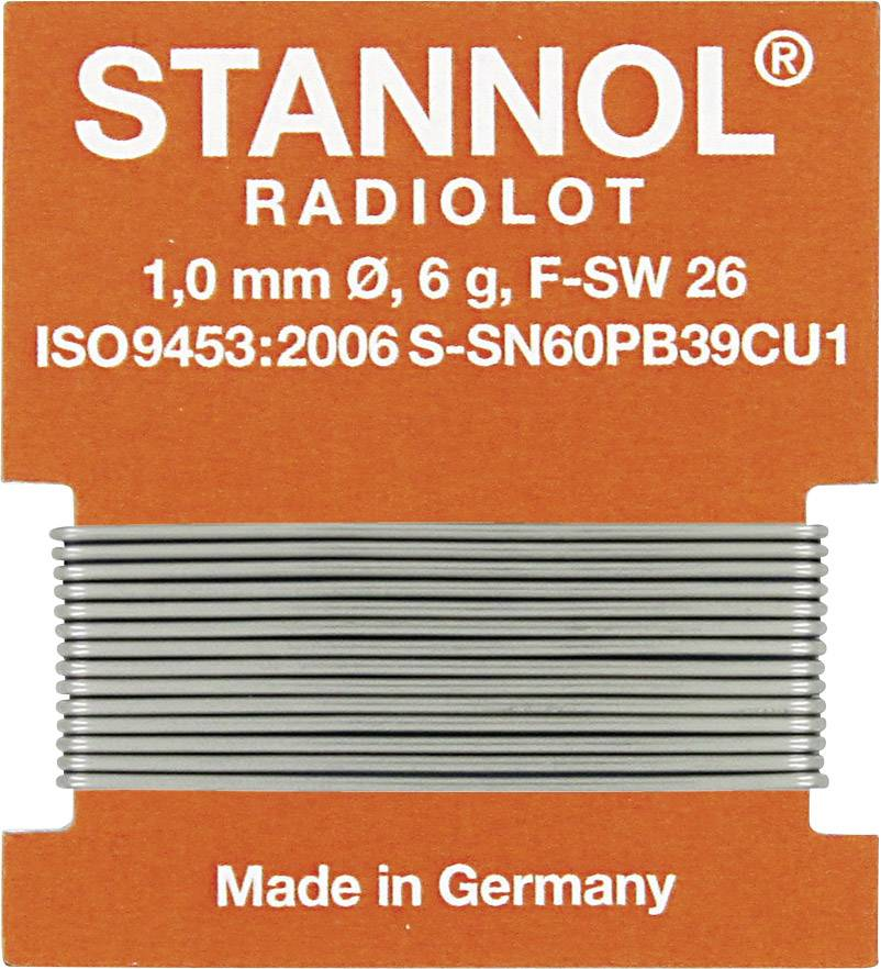 Cínová spájka, Sn60Pb39Cu1, Ø 1 mm, 6 g, Stannol