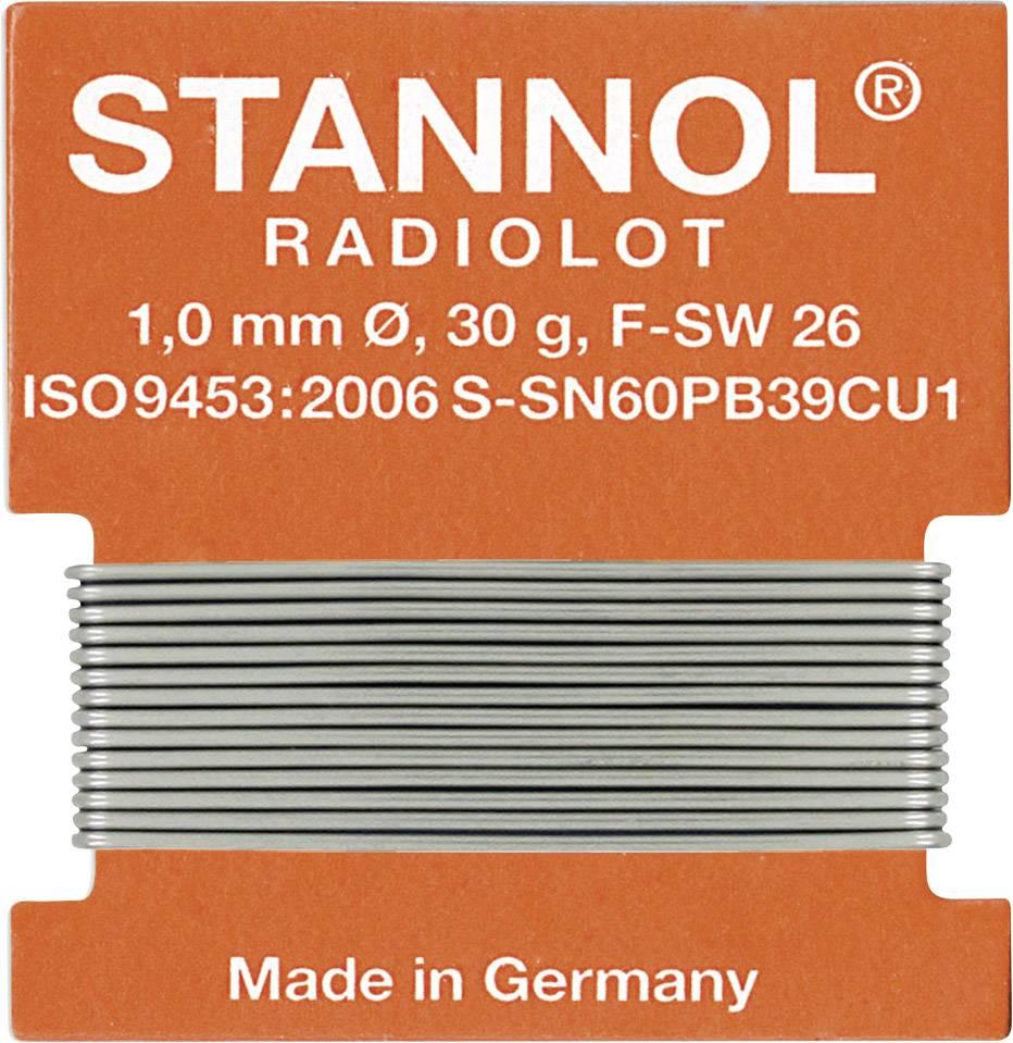 Cínová pájka, Sn60Pb39Cu1, Ø 1 mm, 30 g, Stannol