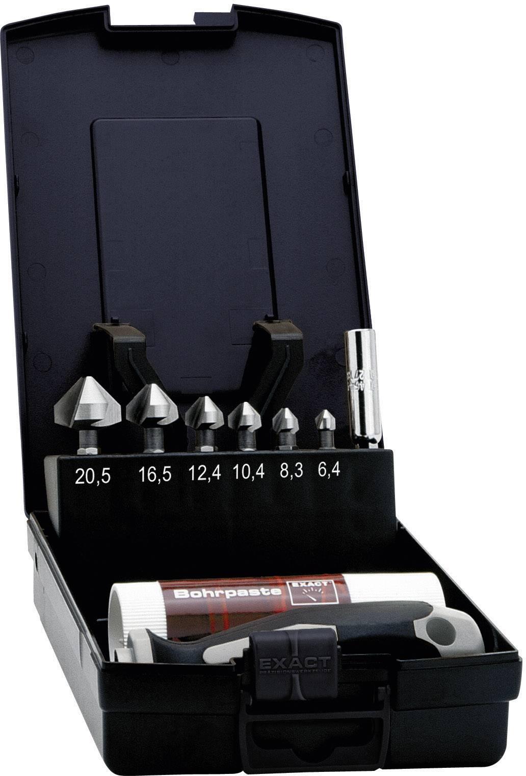 """Sada kužeľových záhlbníkov 8-dielna HSS Exact 1605649, 1/4 """"(6,3 mm), 1 sada"""