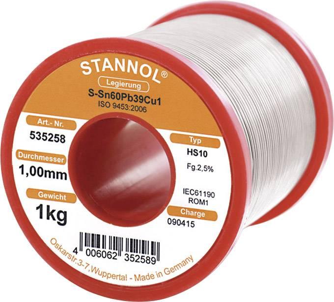 Cínová spájka, Sn60Pb39Cu1, Ø 1 mm, 1000 g, Stannol