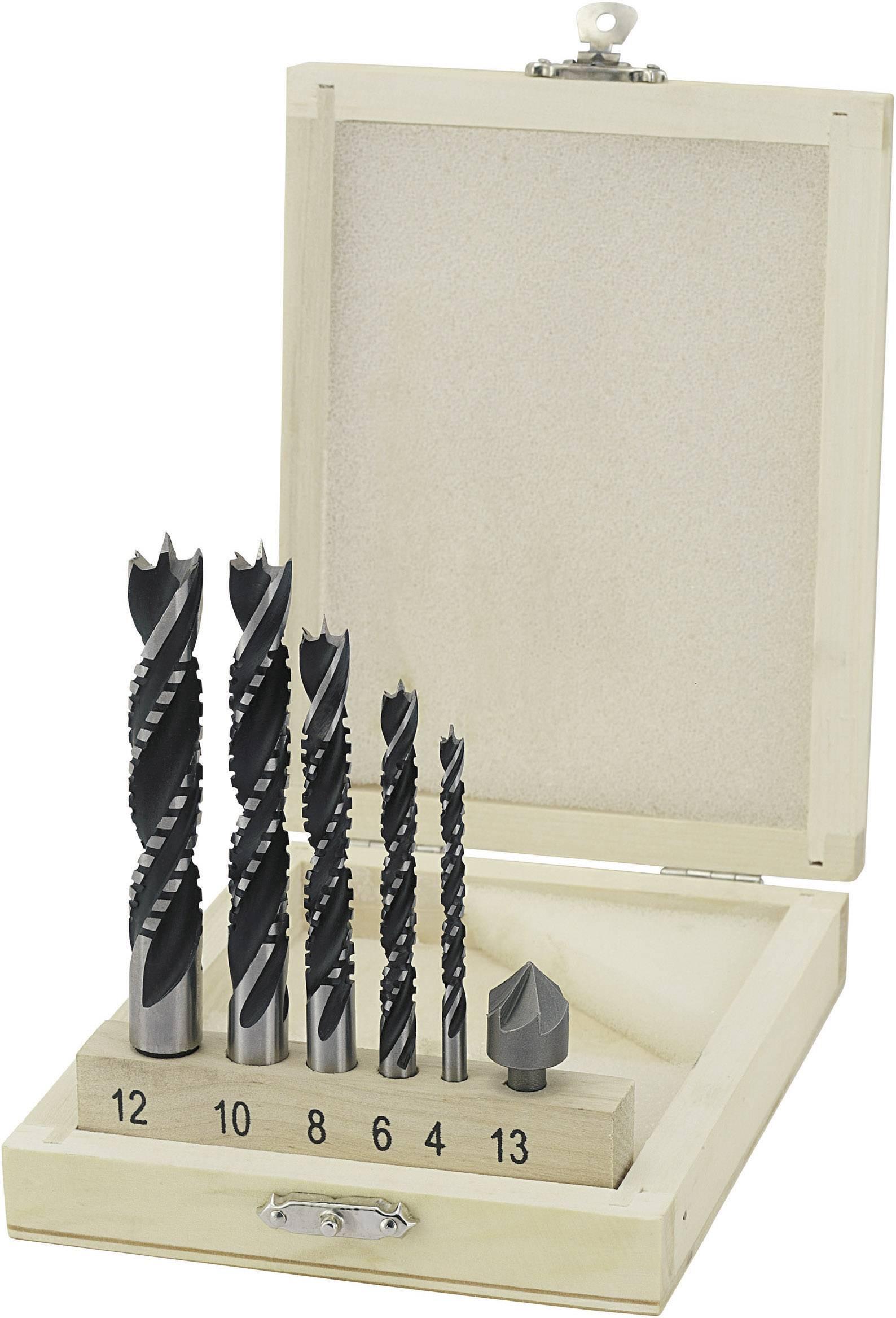 Špirálový vrták do dreva Basetech 813235, 4 mm, 6 mm, 8 mm, 10 mm, 12 mm, 1 sada