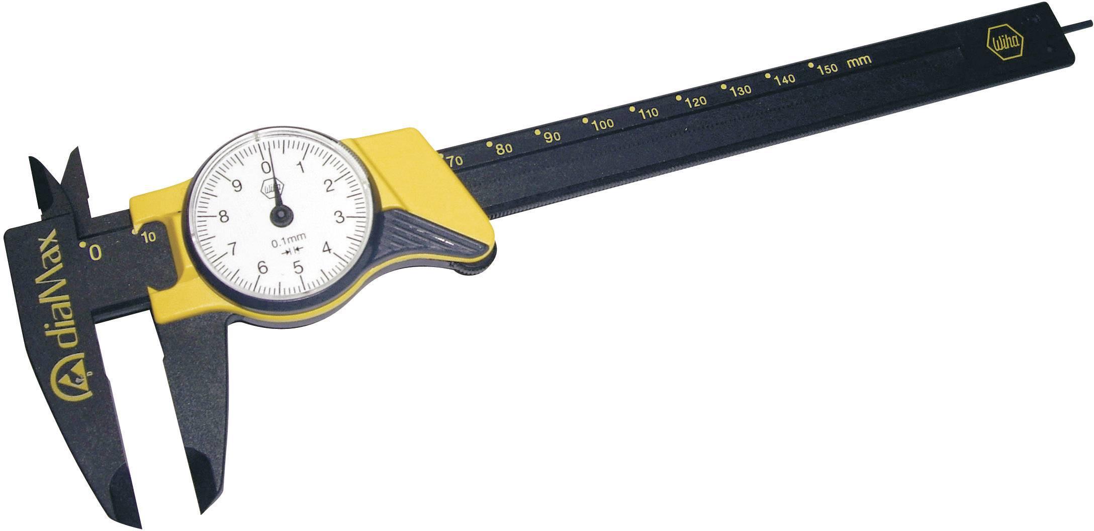 ESD posuvné měřítko s ciferníkem Wiha DIALMAX 31439, měřicí rozsah 150 mm, Kalibrováno dle podnikový standard (bez certifikátu) (own)