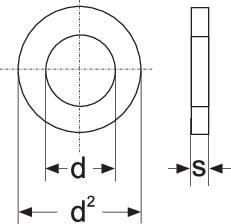 Podložka plochá TOOLCRAFT 814717, vnútorný Ø: 6.4 mm, oceľ, 100 ks