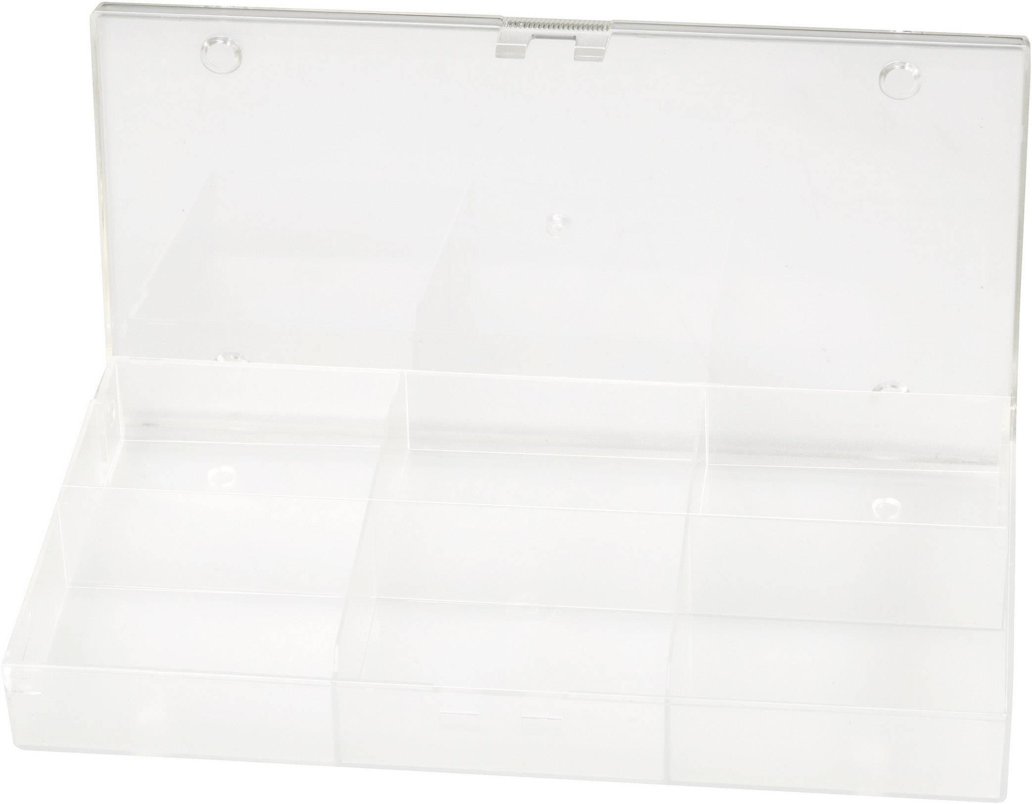 Zásobník na součástky průhledný - 6 příhrádek, 194 x 31 x 101 mm