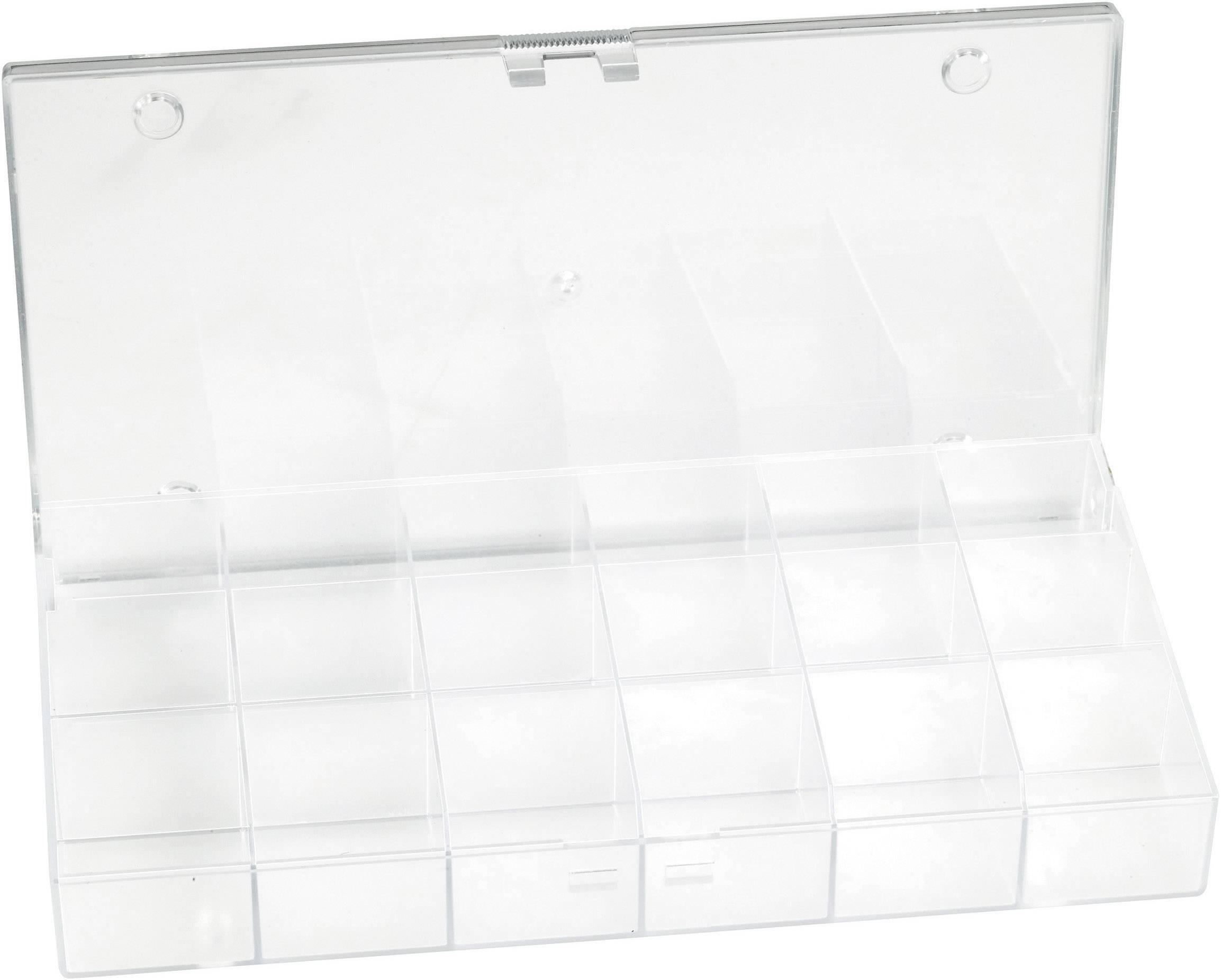 Zásobník na součástky průhledný - 18 příhrádek, 194 x 31 x 101 mm