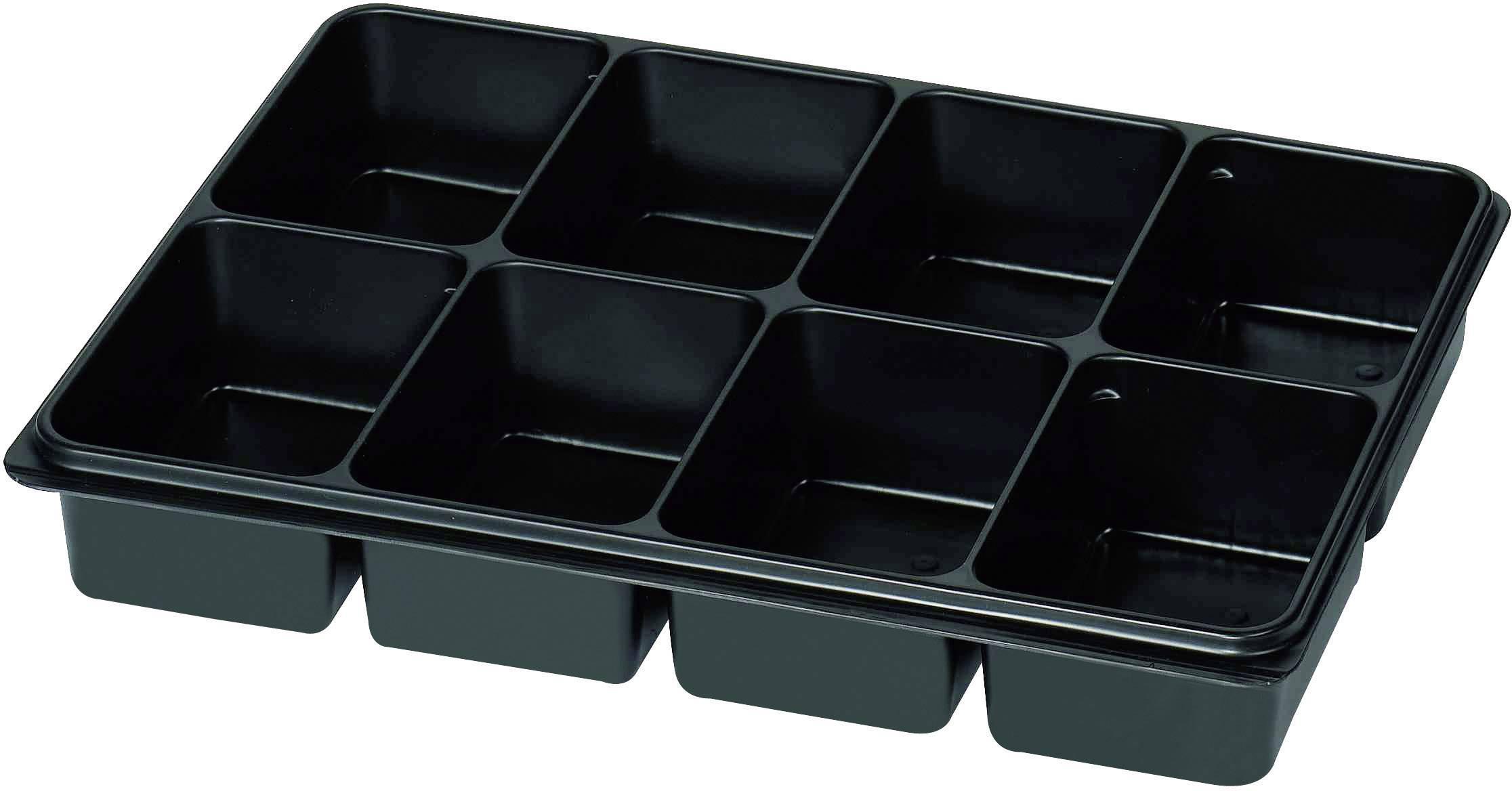Plastová krabička na drobné súčiastky 815348, priečinkov: 8, 335 x 235 x 50 , čierna