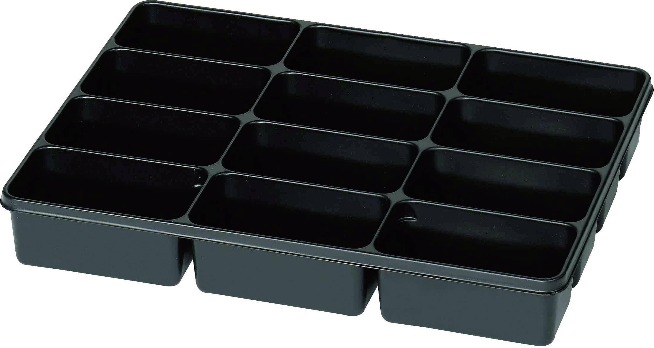Plastová krabička na drobné súčiastky 815351, priečinkov: 12, 335 x 235 x 50 , čierna