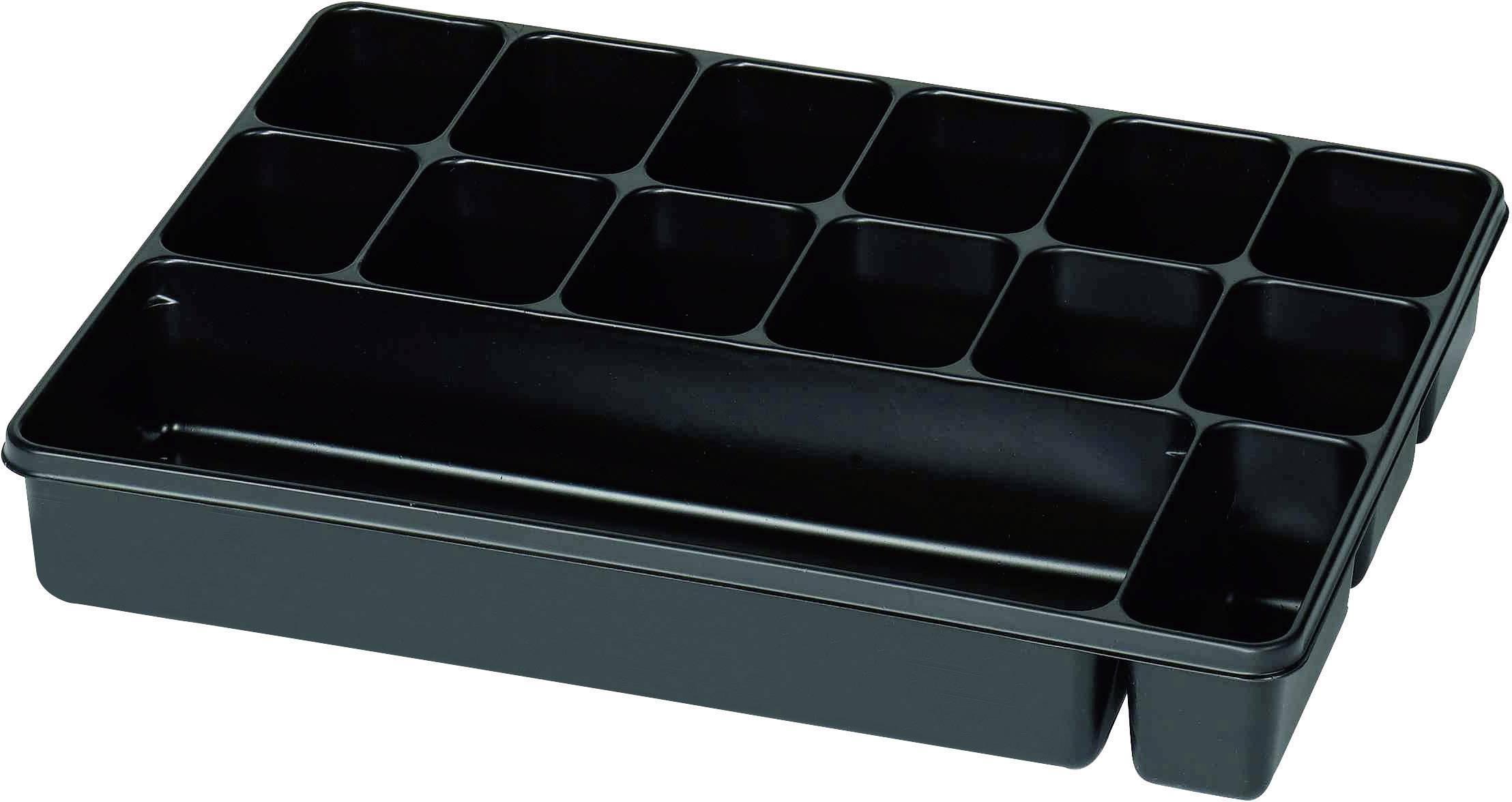 Plastová krabička na drobné súčiastky 815353, priečinkov: 14, 335 x 235 x 50 , čierna