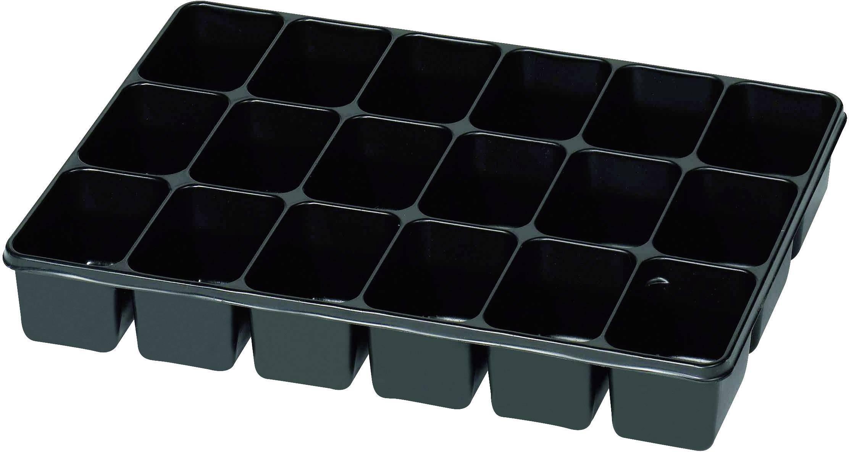 Plastová krabička na drobné súčiastky 815355, priečinkov: 18, 335 x 235 x 50 , čierna