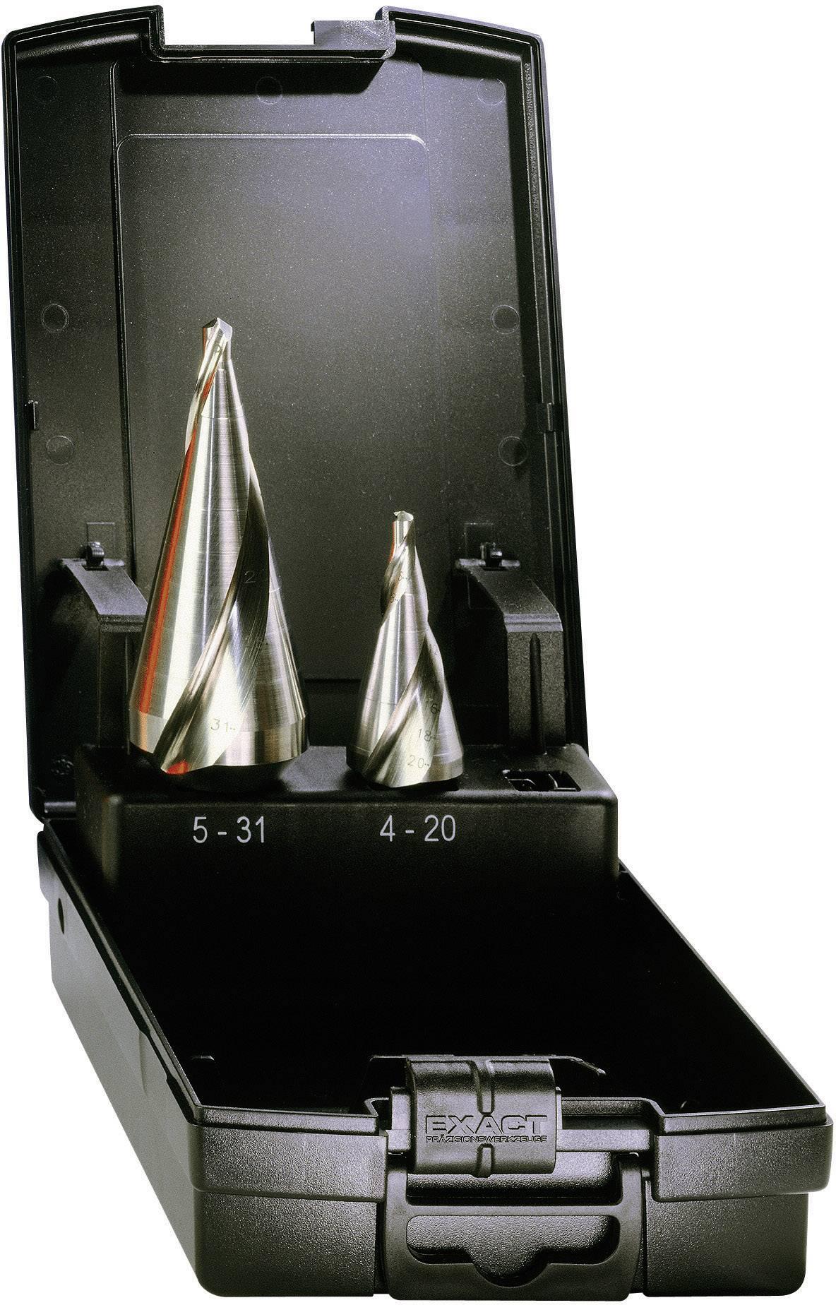 Kuželový vrták HSS, lesklý se spirálovou drážkou, 2 ks