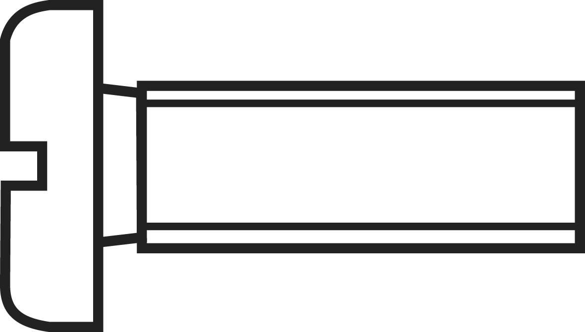 Skrutky s valcovou hlavou TOOLCRAFT 815578, DIN 84, M2.5, 10 mm, oceľ, 100 ks