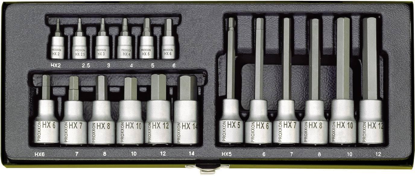 """18-dielna sada nástrčných kľúčov a bitov inbus Proxxon Industrial 23 100, 1/4"""" (6,3 mm), 1/2"""" (12.5 mm)"""