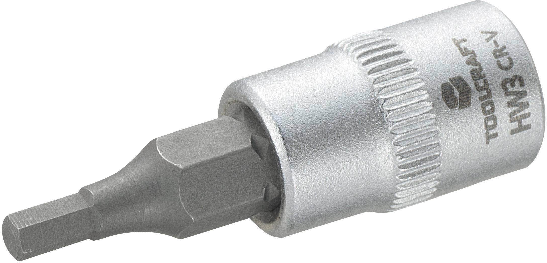 """Nástrčný kľúč TOOLCRAFT 816068, inbus, 1/4"""" (6,3 mm), 3 mm, chróm-vanadiová oceľ"""