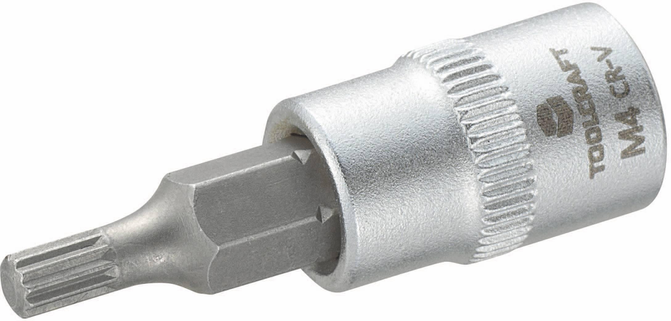 """Nástrčný kľúč TOOLCRAFT 816073, štvorzub (XZN), 1/4"""" (6,3 mm), 4 mm, chróm-vanadiová oceľ"""